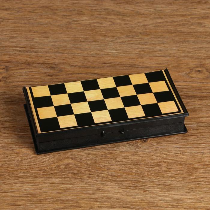 """Настольная игра 3 в 1 """"Атели"""": шашки, шахматы, нарды доска пластик 19х19 см"""