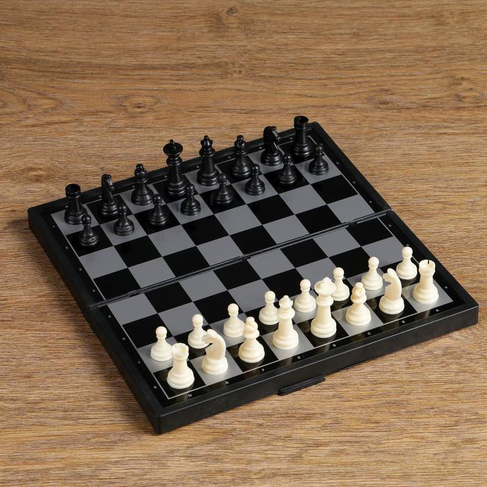 "Настольная игра, набор 3 в 1 ""Зук"": нарды, шахматы, шашки, магнитная доска 24.5х24.5 см"