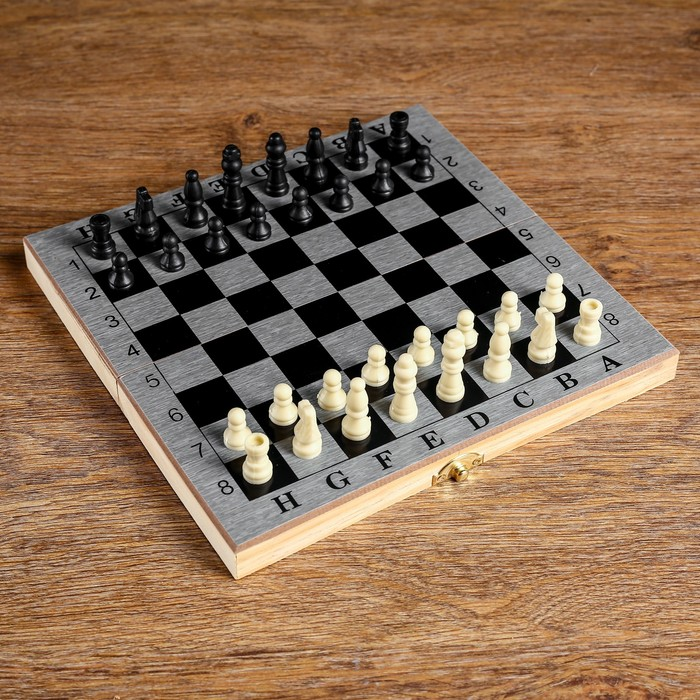 "Настольная игра 3 в 1 ""Шелест"": нарды, шахматы, шашки, доска 24х24 см"