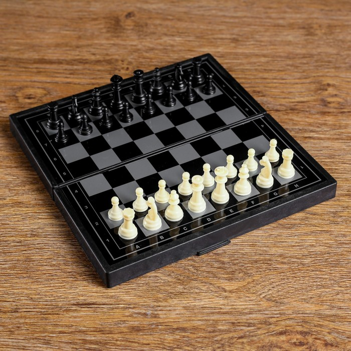 "Настольная игра 3 в 1 ""Зук"": нарды, шахматы, шашки, магнитная доска 19х19 см"