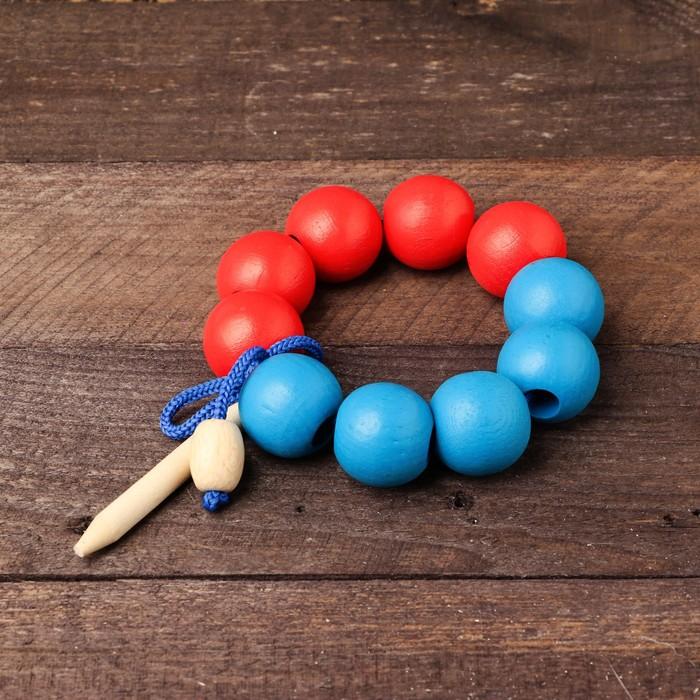 """Шнуровка """"Счёт до 10"""", красно-синяя большая, диаметр бусины — 3 см, МИКС"""
