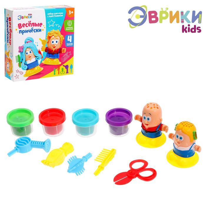 Набор для игры с пластилином «Весёлые причёски», 4 баночки пластилина