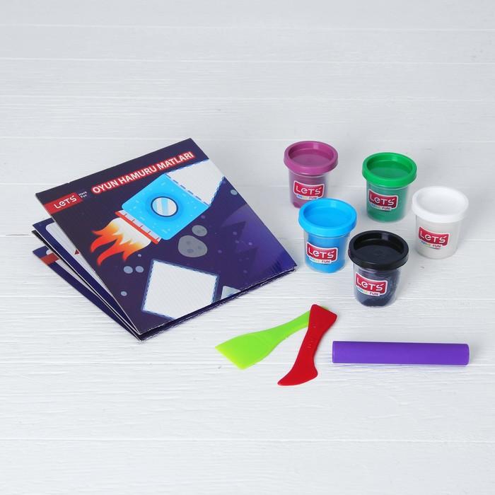 Тесто для лепки 5 цветов по 75 г «Инопланетяне» игровой коврик, резак, шпатель, ролик