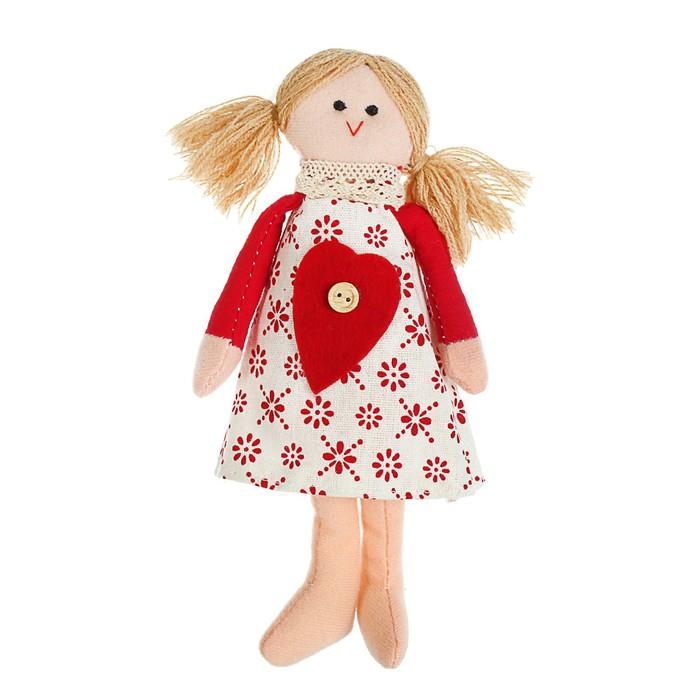 Мягкая игрушка «Кукла Ириша», с сердцем на платье, цвета МИКС