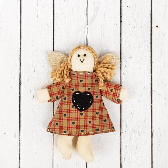 Кукла интерьерная «Ангелочек», с хвостиками, сердце на платье, цвета МИКС