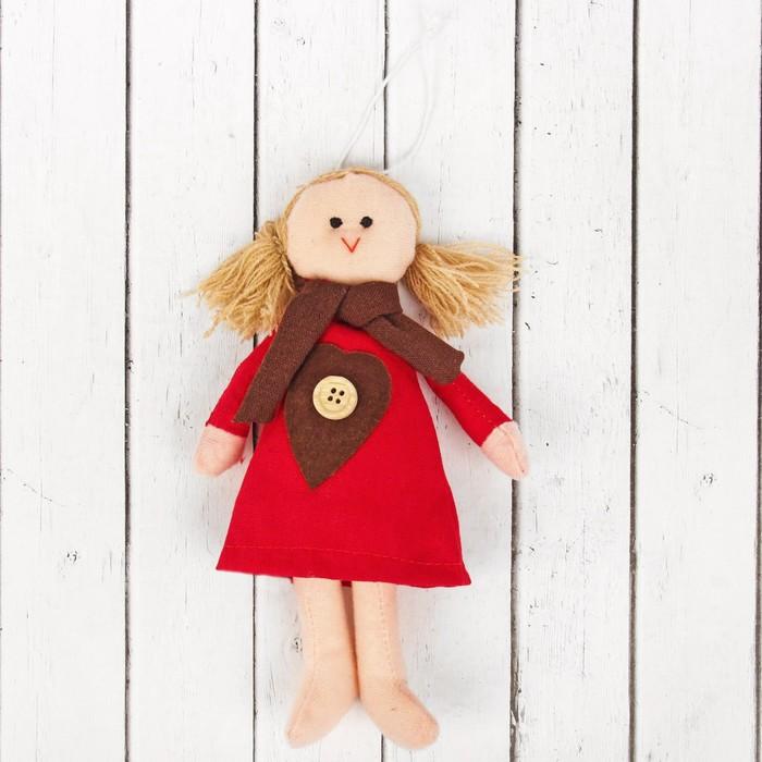Кукла интерьерная «Аннушка», сердце с пуговкой на платье, цвета МИКС