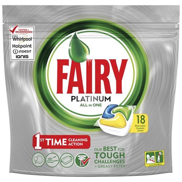 Ср-во д/мытья посуды в капсулах Fairy Platinum All in 1 (18 шт)