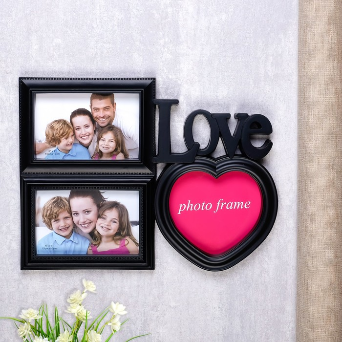 "Фоторамка ""Влюбленность"" на 3 фото 10х15 см, 15х15 см, чёрная"