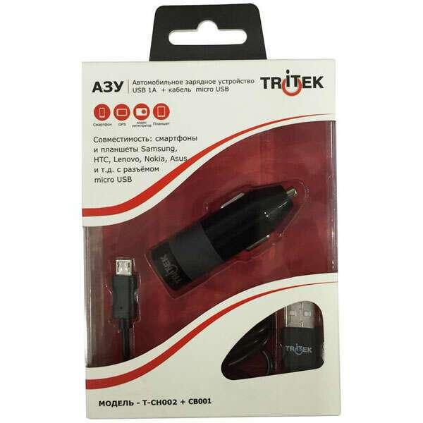 Автомобильное зарядное устройство Tritek T-CH002+CB001 Black