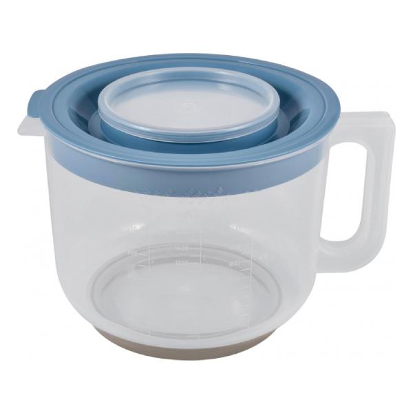 Емкость для миксера Plast team мерная с крышкой 2л туманно-голубой