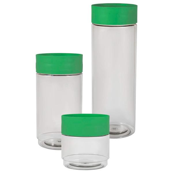 Набор банок для хранения Plast Team 3 шт. (0,5л; 1л; 1,5 л) зеленый