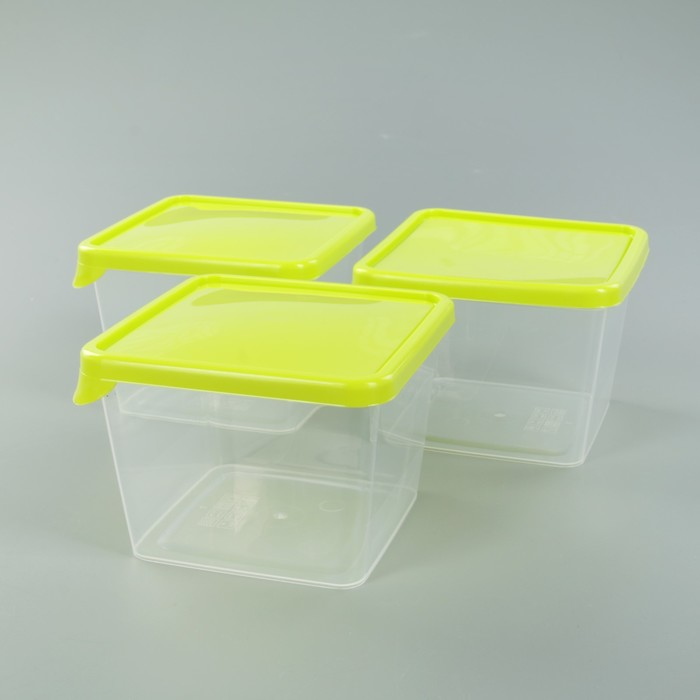 Набор ёмкостей для продуктов, квадратные 0,75 л, 3 шт, цвет салатовый