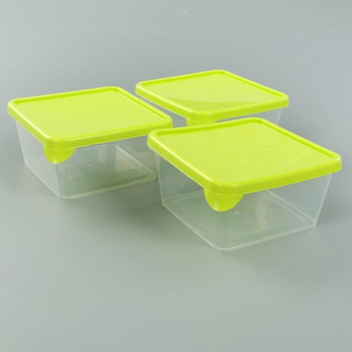 Набор ёмкостей для продуктов, квадратные 3 шт 0,5л, цвет салатовый