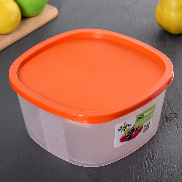 Контейнер пищевой 2,65 л BioFresh, квадратный, цвет МИКС