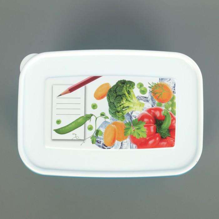 """Контейнер для замораживания и хранения продуктов 1,3 л """"Кристалл"""", с декором, цвет голубой"""