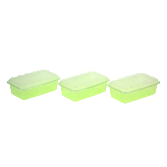 Набор контейнеров для заморозки 1 л Zip, 3 шт, цвет зеленый