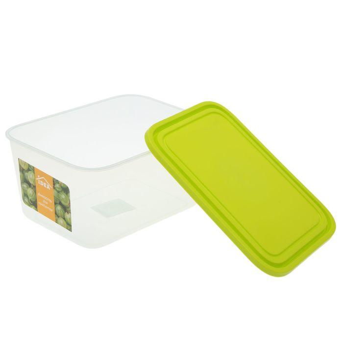Емкость для продуктов прямоугольная 3 л, цвет салатовый