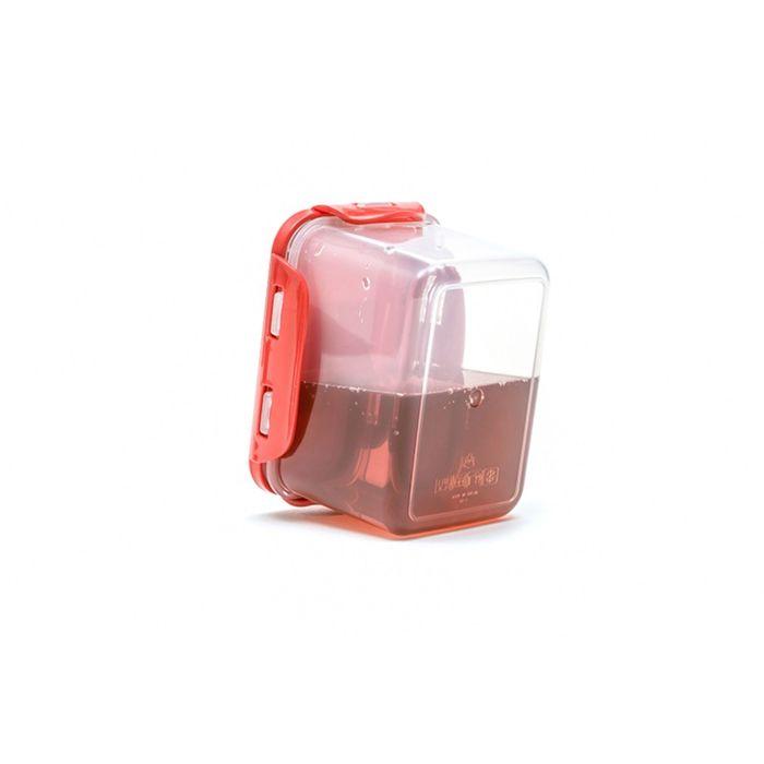 Пластиковый контейнер Oursson, красная крышка, 630 мл, прямоугольный