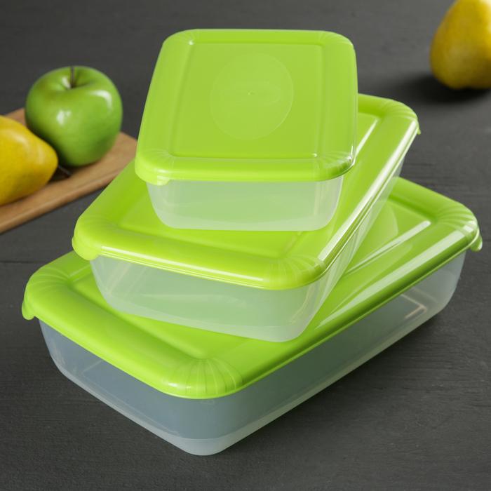 Набор контейнеров пищевых Polar, 3 шт: 900 мл; 1,9 л; 3 л, цвет МИКС