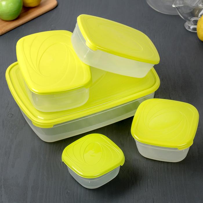 Набор пищевых контейнеров Galaxy, 5 шт: 500 мл; 1 л; 1,2 л; 1,6 л; 4,75 л; цвет МИКС