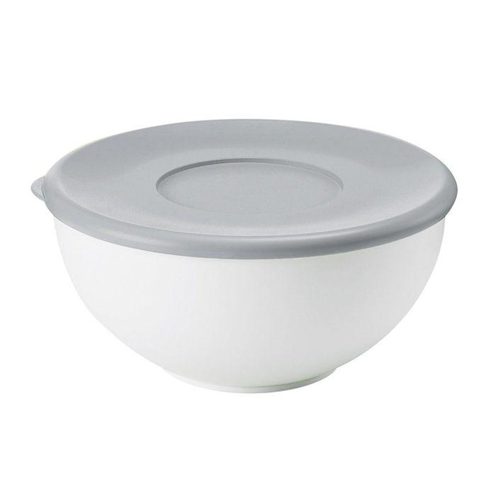 Контейнер с крышкой 20 см серый/белый