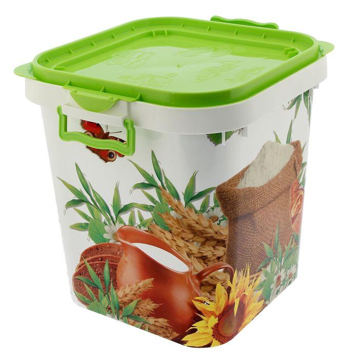 Контейнер пищевой 25 л, цвет зелёный, рисунок МИКС