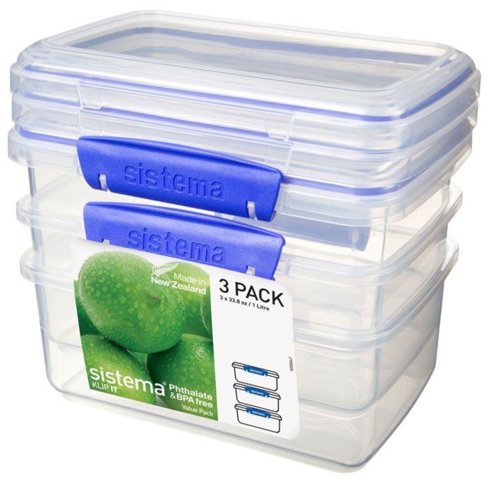 Набор контейнеров Sistema, синий, 1 л, 3 шт.