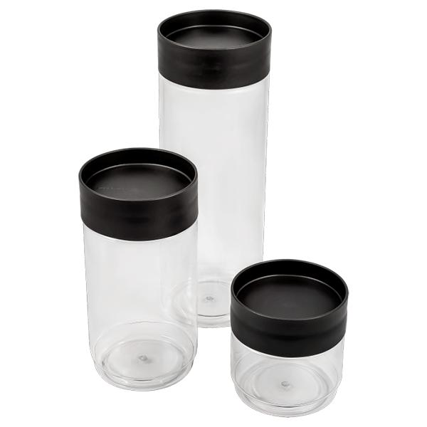 Набор банок для хранения сыпучих продуктов Plast Team 3 шт. (0,5л; 1л; 1,5 л) графитовый