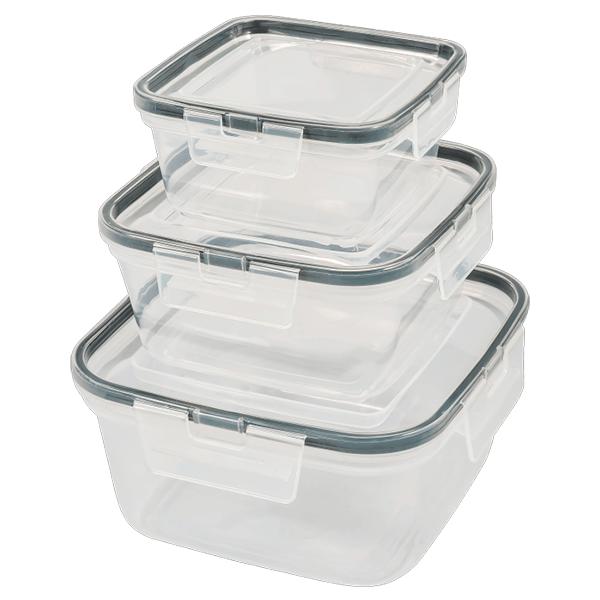 Набор емкостей для продуктов Plast Team HELSINKI квадратных 3 шт. (0,4л; 0,8л; 1,5л) натуральный