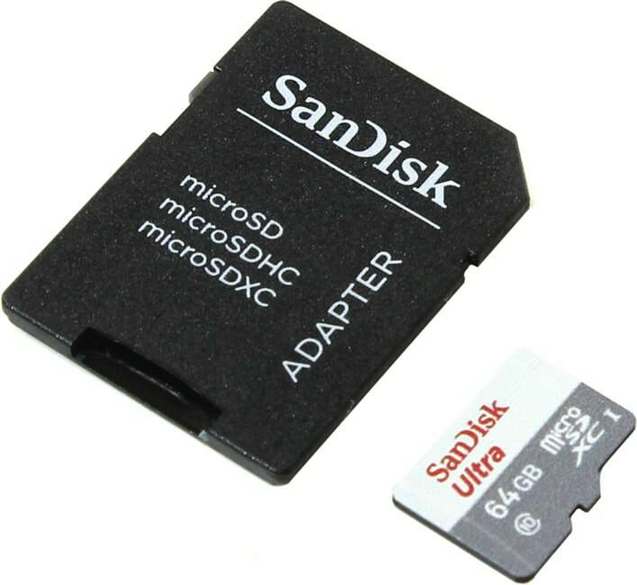 Карта памяти SANDISK  MicroSD 64 GB Class 10 + А (SDSQUNB-064G-GN3MA)
