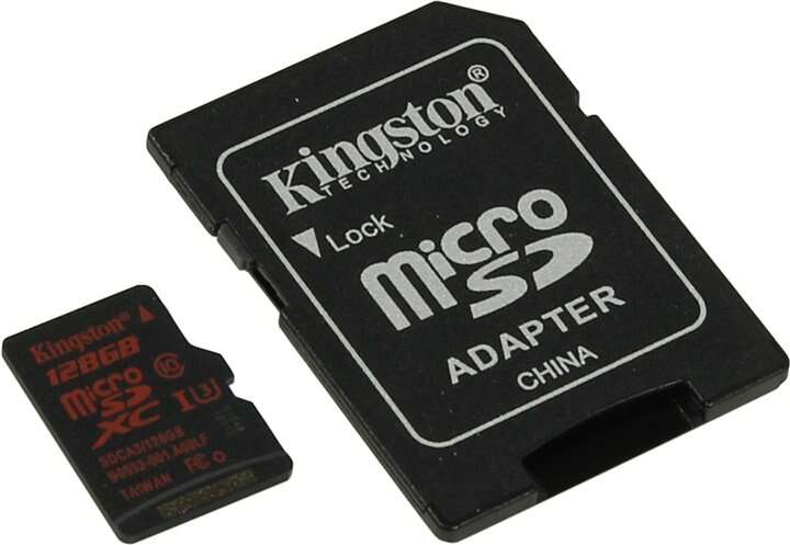 Карта памяти Kingston microSDXC 128GB Class 3 (SDCA3/128GB)