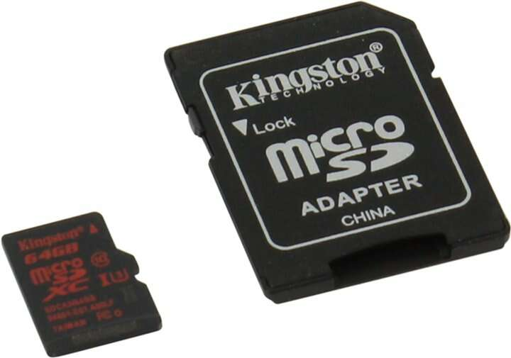 Карта памяти Kingston microSD 64GB UHS-I Class 3 + Adapter SDCA3/64GB