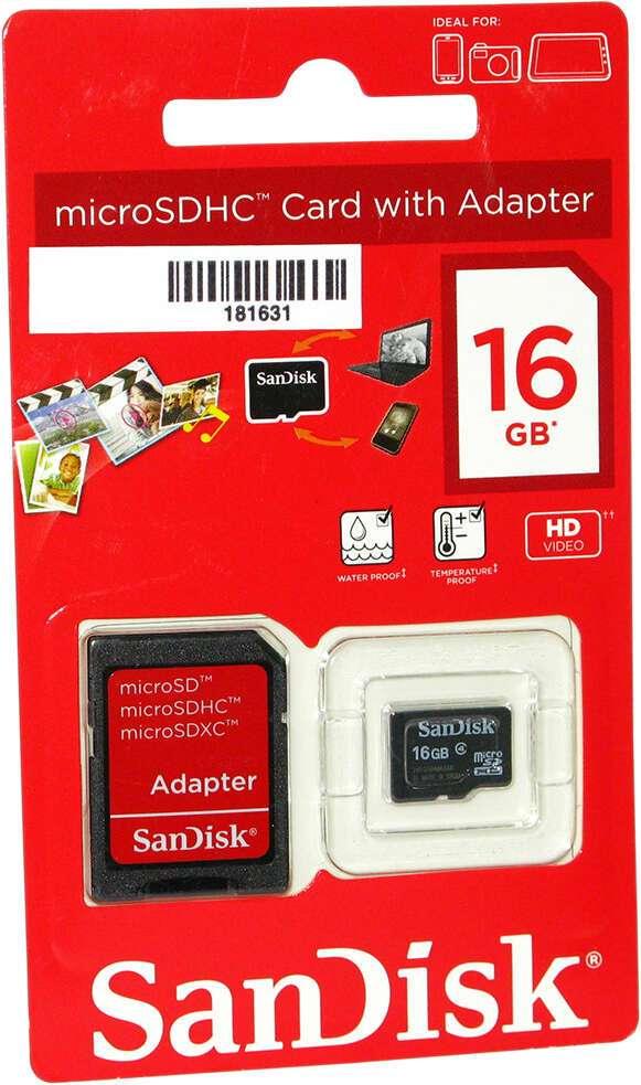 Карта памяти SANDISK MicroSD 16 GB, 4 Class + A (SDSDQM-016G-B35A)