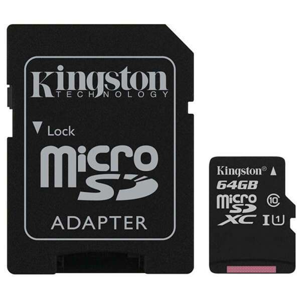 Карта памяти Kingston Canvas Select microSD 64GB UHS-I Class 1 + Adapter SDCS/64GB