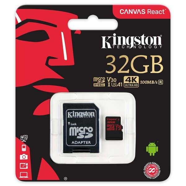 Карта памяти Kingston Canvas React microSD 32GB A1 V30 UHS-I Class 3 + Adapter  SDCR/32GB