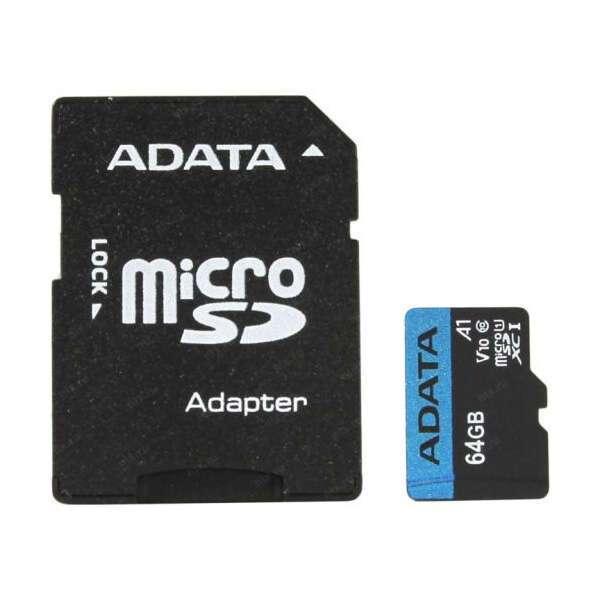 Карта памяти Adata MicroSDXC 64 GB UHS-I class 1 + A (AUSDH64GUICL10A1)
