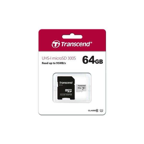Карта памяти Transcend MicroSDXC 64 GB UHS-I class 1 + A (TS64GUSD300S)