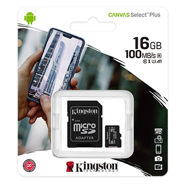 Карта памяти Kingston Canvas Select Plus microSDHC 16GB Class 10 (SDCS2/16GB)