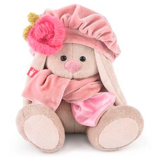 Мягкая игрушка Зайка Ми Зайка в берете с вязаным цветком 15см