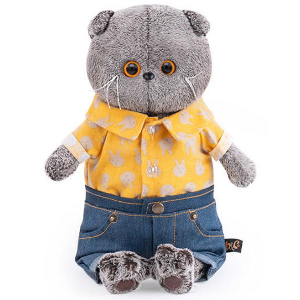 Мягкая игрушка Basik Басик в джинсовых шортах и желтой рубашке