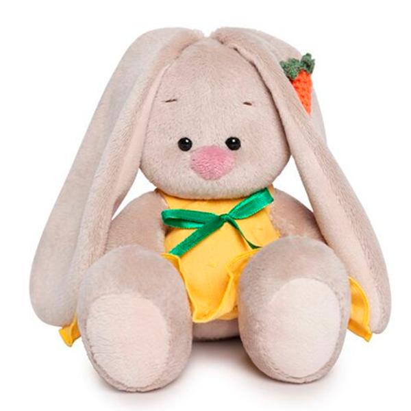 Мягкая игрушка Зайка Ми Зайка в желтом сарафане с морковкой 15см