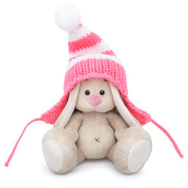 Мягкая игрушка Зайка Ми Зайка в полосатой розовой шапке (малыш)