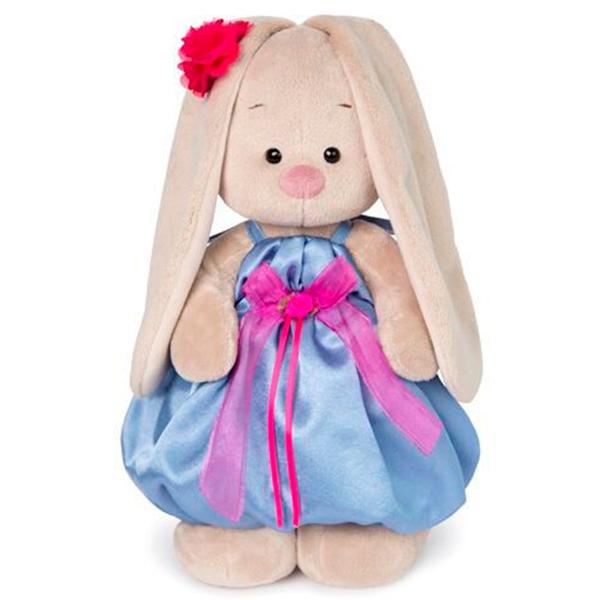 Мягкая игрушка Зайка Ми Зайка в синем платье с розовым бантиком 25см
