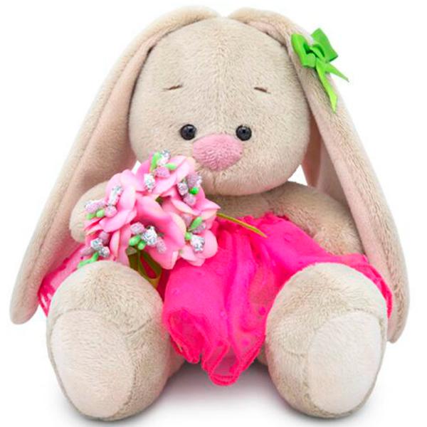 Мягкая игрушка Зайка Ми Зайка Ми c букетом в розовой юбке (малыш)