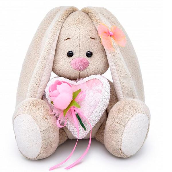 Мягкая игрушка Зайка Ми Зайка с сердцем из бархата 15см