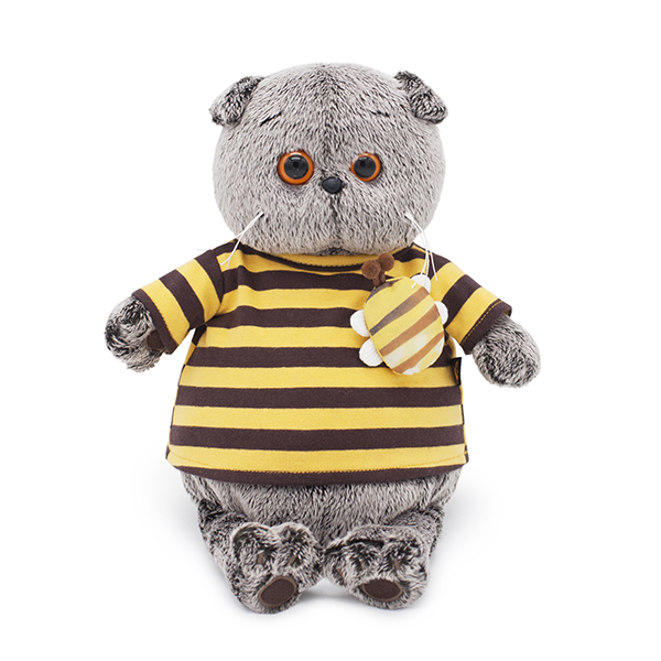 Мягкая игрушка Budi Basa Басик в полосатой футболке с пчелой 25см