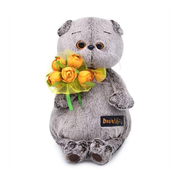 Мягкая игрушка Budi Basa Басик с букетом оранжевых пионов 25см
