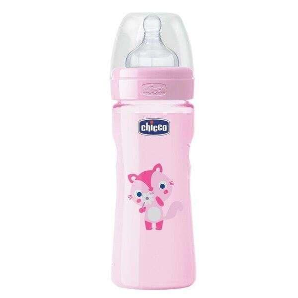 Бутылочка Chicco WB розовая 250мл силикон