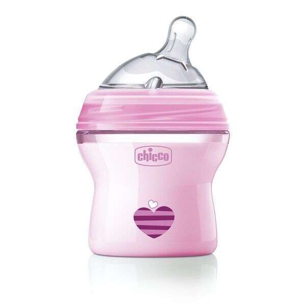 Бутылочка Chicco Natural Feeling силикон 150 ml 0м+, розовая