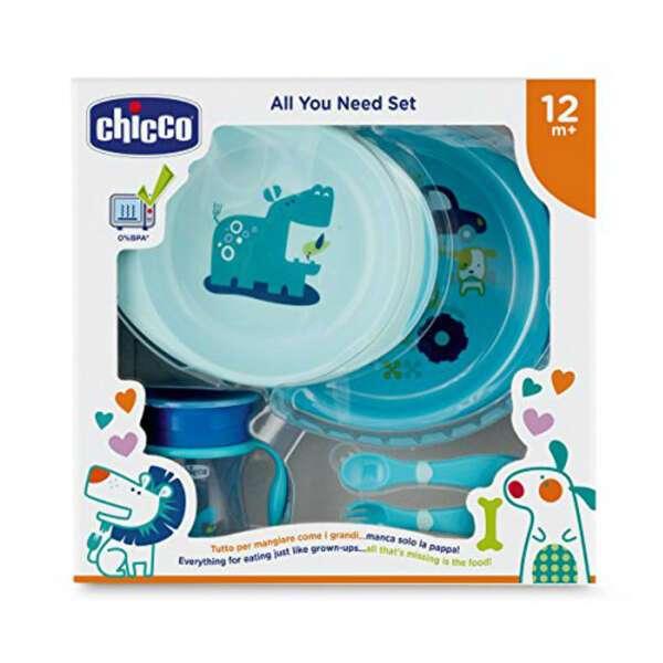 Набор детской посуды Chicco (2тарелки, ложка, вилка, поильник) 12м+, голубой